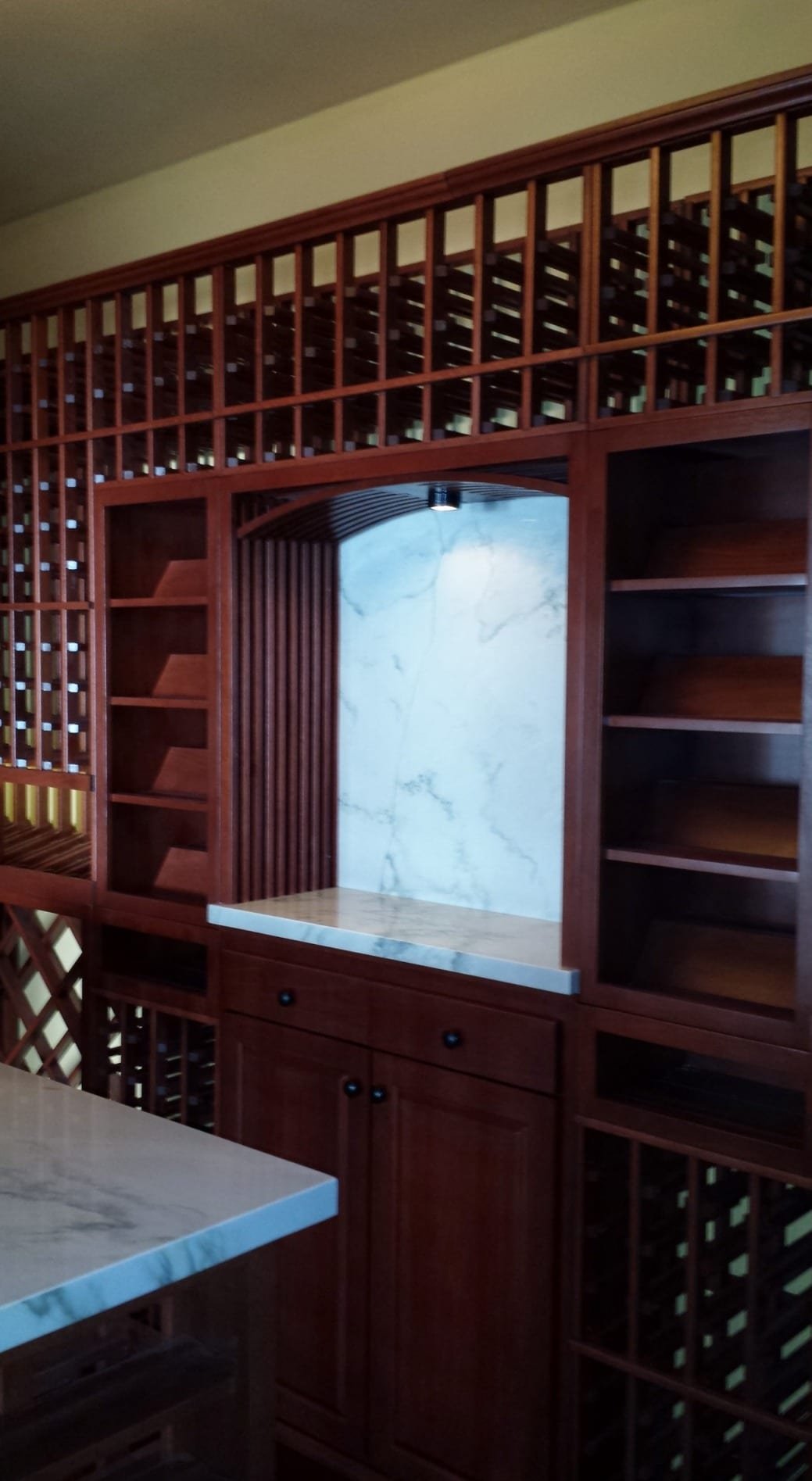Custom Residential Wine Cellar Garage Denver Lattice Arch with Tabletop