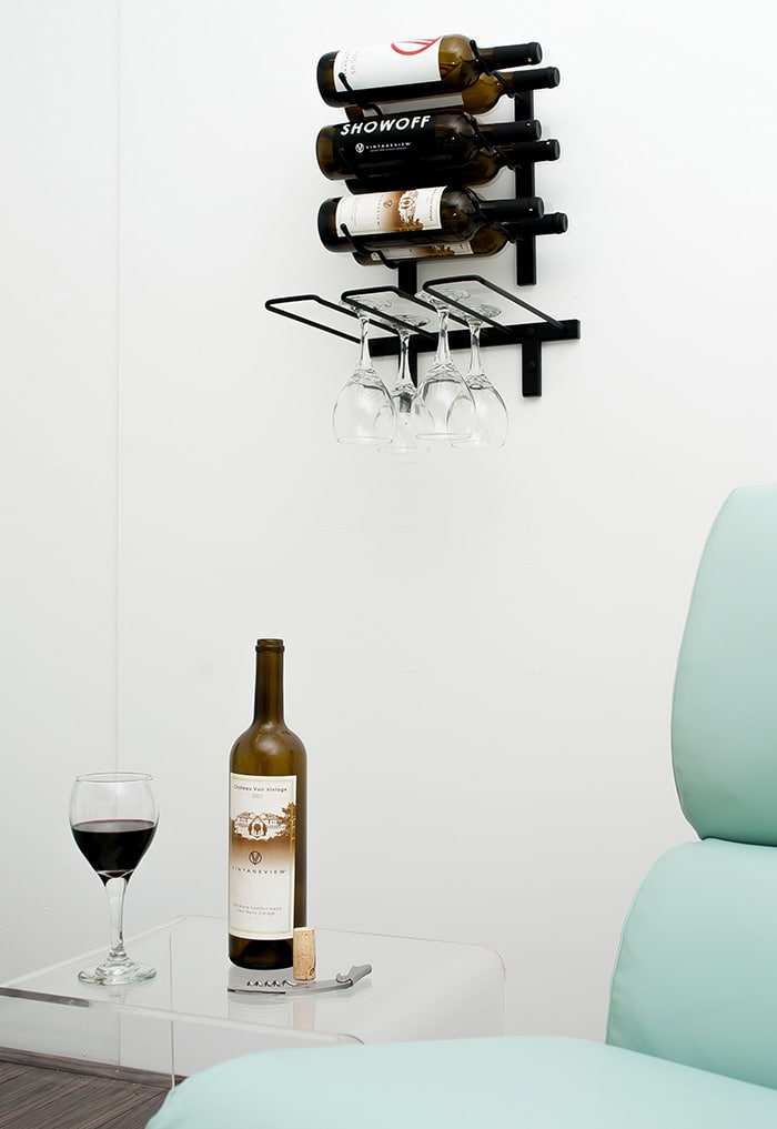 Lovey Wall Mount Series VintageView Wine Racks with Stemware Rack