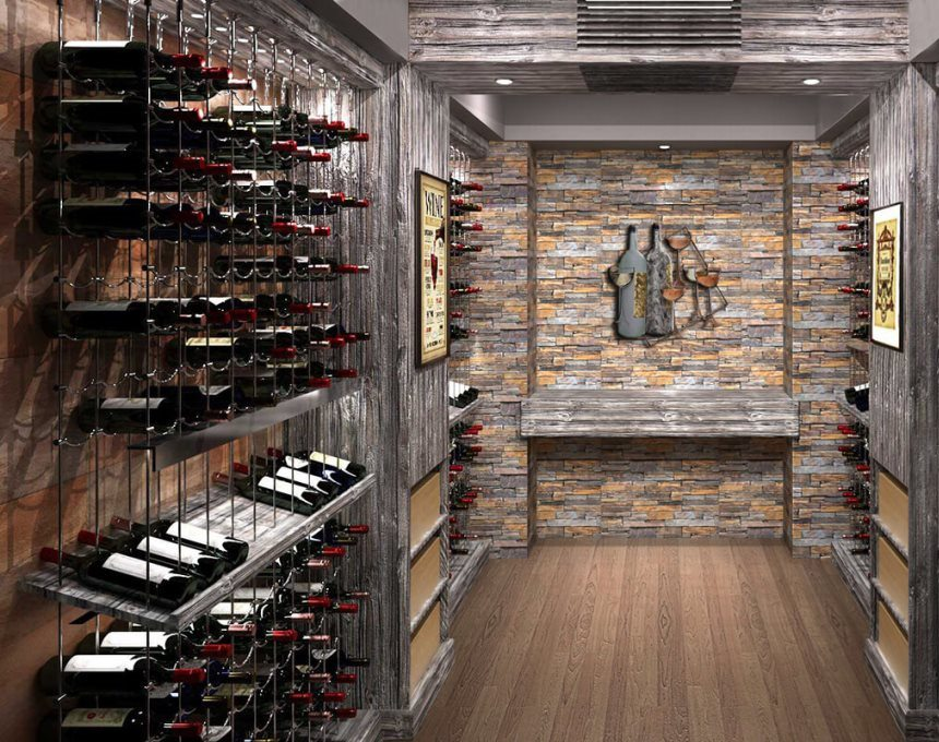 Custom Wine Cellar with Cable Wine Systems