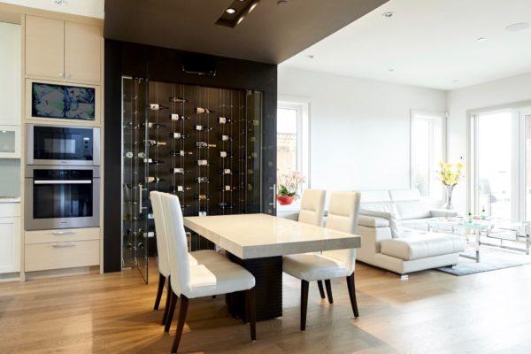 Glass Wine Cellar Doors Complements the Modern Wine Racks