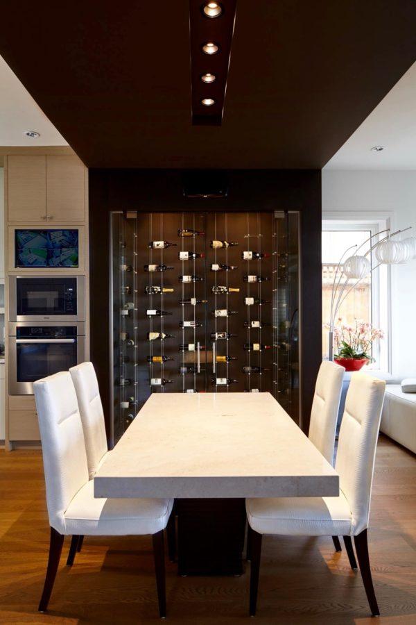 Modern Wine cellar with Floating Wine Racks